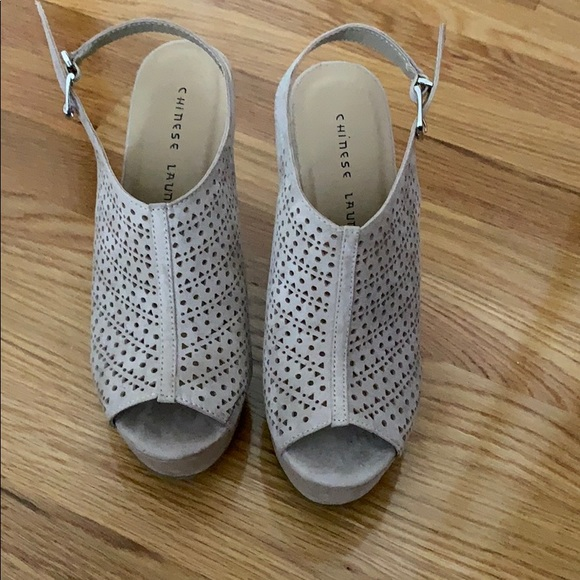 Chinese Laundry Size 8 Nude Laser Cut Wedge